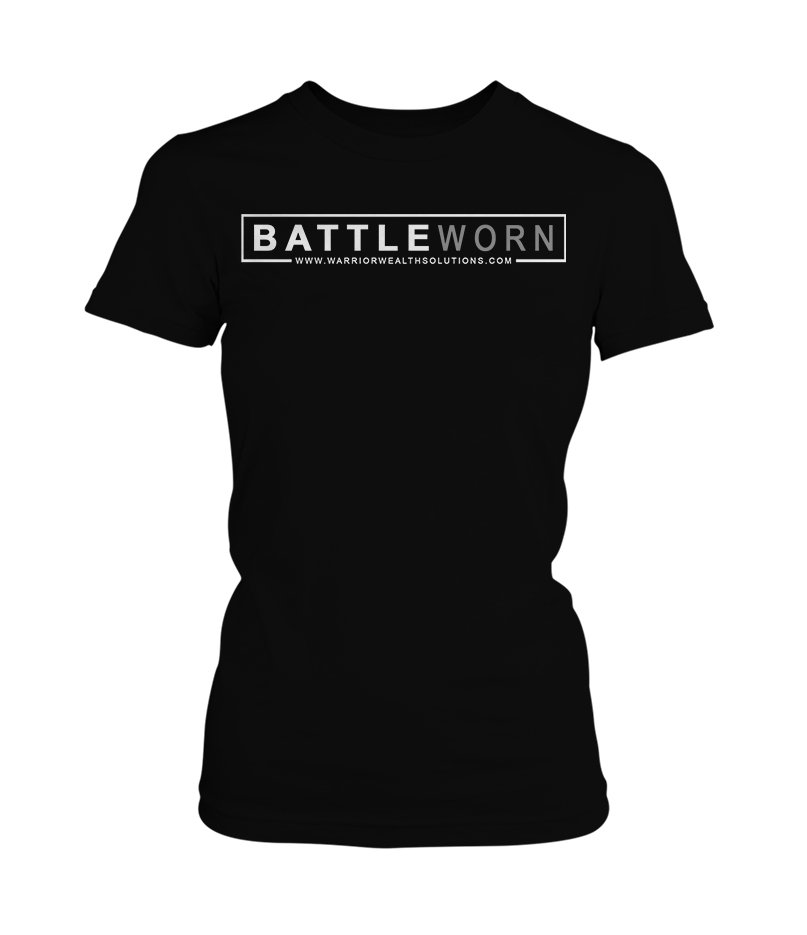 Chris Jackson - Warrior Wealth Solutions - Battle Worn Womens Black T-Shirt